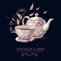 Vintage Card with Cup of Tea or Coffee and Pot