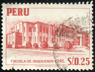 stamp printed in Peru shows National University of Engineering