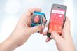 Leinwandbild Motiv Data synchronization of health book between smartwatch and smartphone