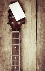 Headstock of acoustic guitar