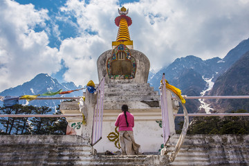 White stupa at Yumthang Valley in Lachung, North Sikkim, India.