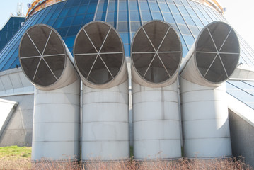 ventilation pipes of industrial building