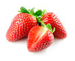Strawberry. Berries with cut on white background.