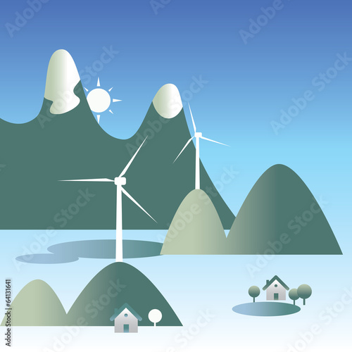 Mountains and wind turbines