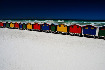 Colorful beach cabins. Muizenberg, South Africa