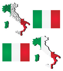 Vector map of Italy filled with flag of the state