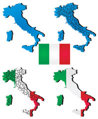 High detailed vector map Italy