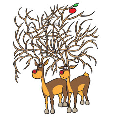 two deer and fruits : Maze game for children