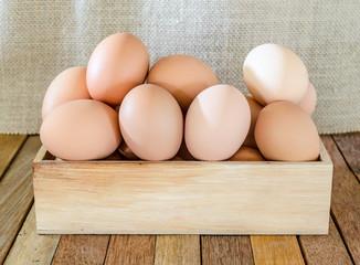 bunch of fresh brown eggs