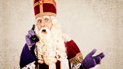Sinterklaas with telephone
