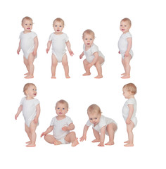 Sequence of a baby learning to walk