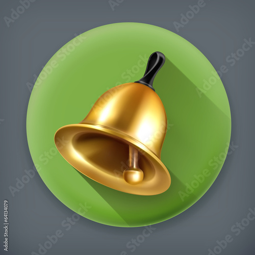 Bell, long shadow vector icon