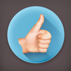 Thumb up, long shadow vector icon