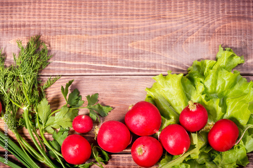 radishes and onions with parsley