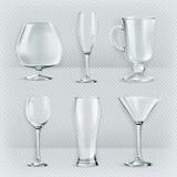 Set of transparent glasses goblets, vector