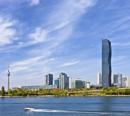 Skyline of Donau City Vienna and the new DC-Tower