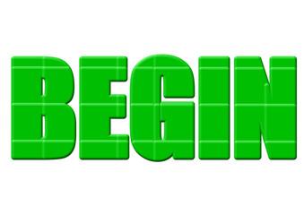 yeşil renkli başlamak yazısı