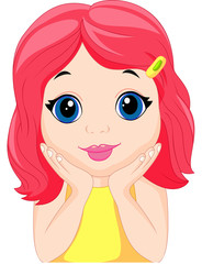 Cute little girl cartoon posing