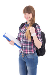 portrait of cute teenage girl with backpack isolated on white