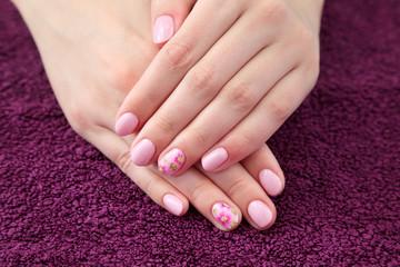 Beauty treatment, hands with painted fingernails