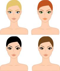 Set of beautiful female faces