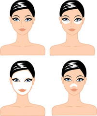 Set of female faces