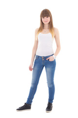 teenage girl in white t-shirt posing isolated on white
