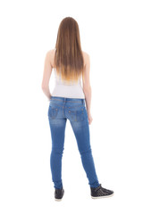 back view of teenage girl isolated on white