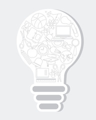 school icons inside a light bulb. idea concept