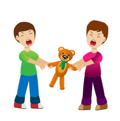 two boys divide a toy bear cry