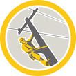 Power Lineman Repairman Climbing Pole Circle