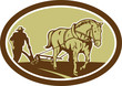 Horse and Farmer Plowing Farm Oval Retro