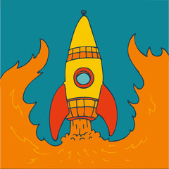 Retro Rocket, vector illustration, hand drawn
