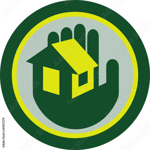 Hand Holding House Circle Retro