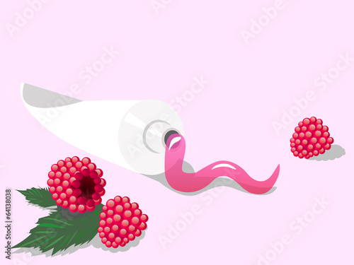 Toothpaste with raspberry