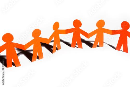 Paper team linked together partnership concept - 64138461