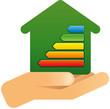 Hand mit Haus Energieeffizienz