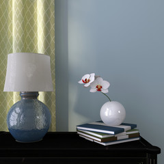 Blue lamp and orchid