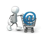 little sketchy man with shopping cart and blue email symbol
