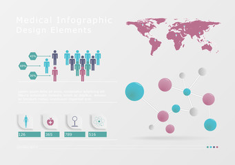 Medical, health and healthcare icons and data elements, infograp