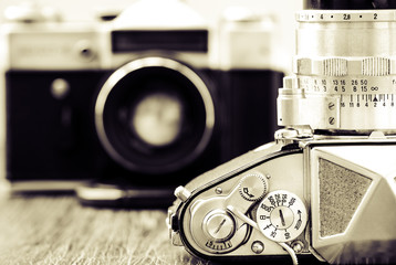 Detail view of classic cameras in monochrome