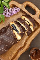 Sweet brioche bread with chocolate frosting and filling