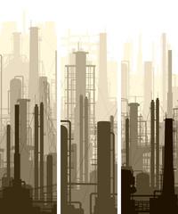 Vertical banner industrial part of city.