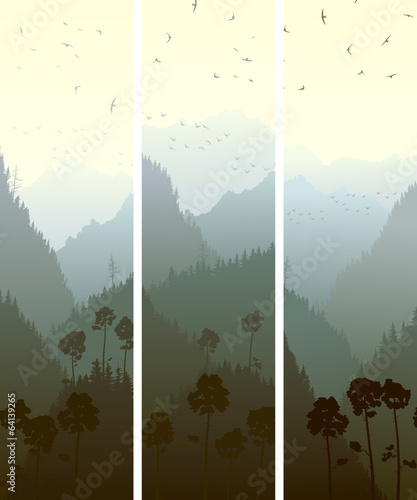 Vertical banners of mountains wood.