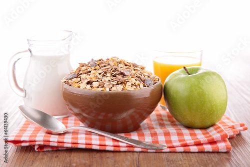 bowl of muesli and milk