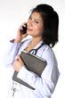 Female doctor holding Mobile phone