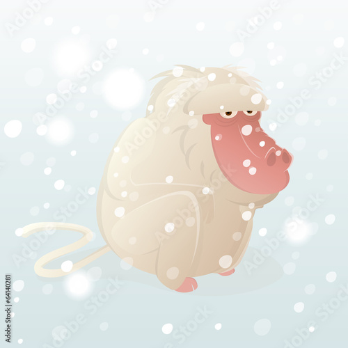 schneeaffe affe cartoon lustig winter