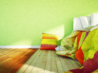 the bed and the colored pillows