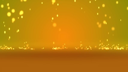 Particle Rain with orange mirror background