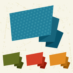 Abstract retro origami banners and speech bubbles.